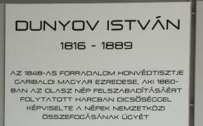 Dunyov István emléktáblája