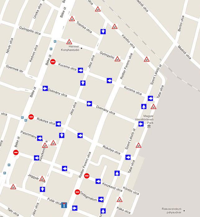 Egyirányú utcák a 2011 őszi forgalmi változás nyomán